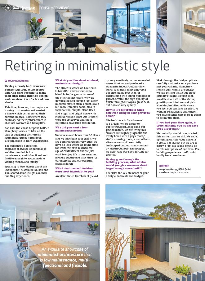 Humphrey Hommes media article - Swanbourne architect residence